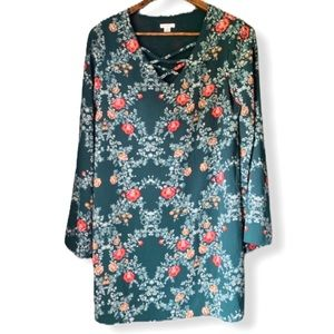 XHILARATION | Flare-sleeve Green Floral Dress S